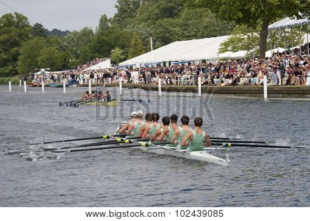 HENLEY, ENGLAND. 04-07-2010.   Eton College on their way to winning the The Princess Elizabeth Challenge Cup on day 5 of the Henley Royal Regatta 2010 held on the River Thames.