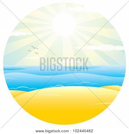 Sunny Sand Beach. Vector Illustration