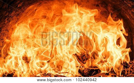 Big blaze of fire flame texture background poster