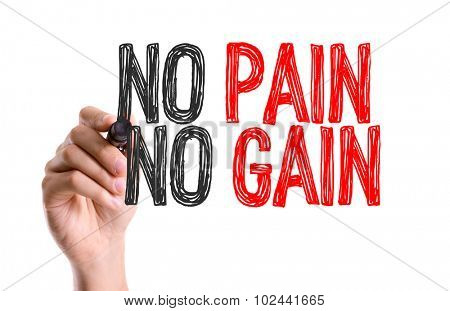 Hand with marker writing: No Pain No Gain