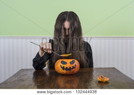Scary Lady With Pumpkin Soup