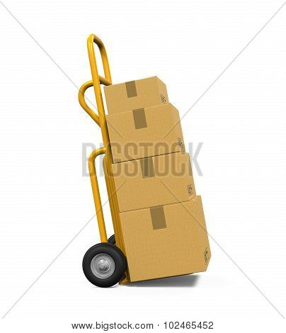 Hand Truck with Cardboard Boxes