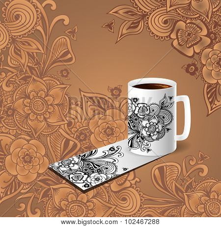 Cup of coffee visit card decorate doodle flowers