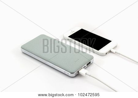 Grey Power Bank Usb Cable For Smartphone.