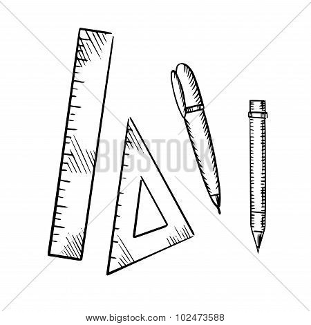 Pencil, pen, triangle and ruler sketch icons