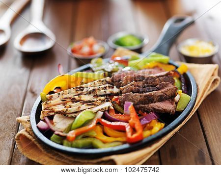 mexican fajita skillet meal with steak and chicken