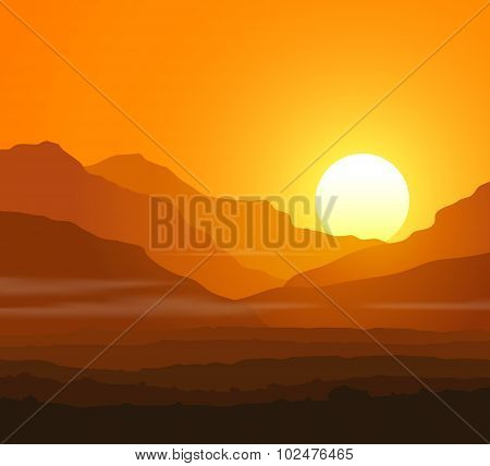 Lifeless landscape with huge mountains at sunset