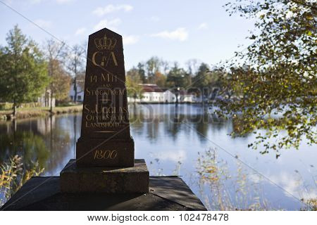 Milestone, milepost, landmark to Stockholm.