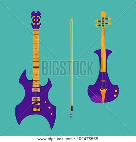Set of string instruments. Purple electric violin with bow and h