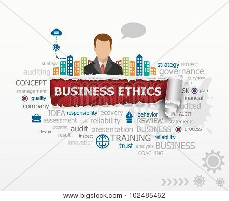 Business Ethics Word Cloud Concept And Business Man.
