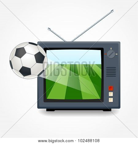 Soccer On The Tv. The Ball Flies Out Of The Tv