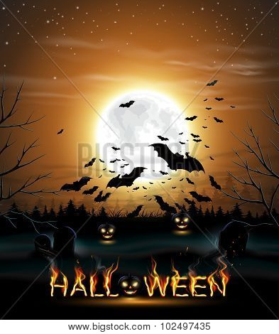 Halloween background with full moon and bats.