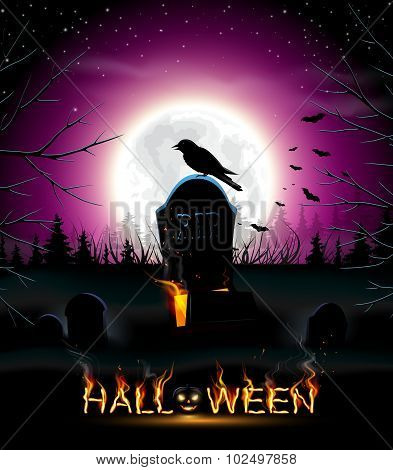 Halloween background with crow.