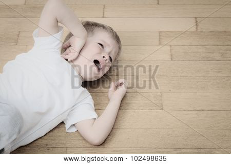 crying child in tears, stress and depression
