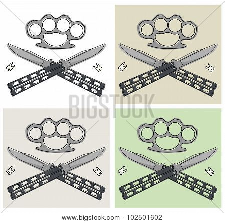 Crossed butterfly knifes and bruss-knuckle illustrations