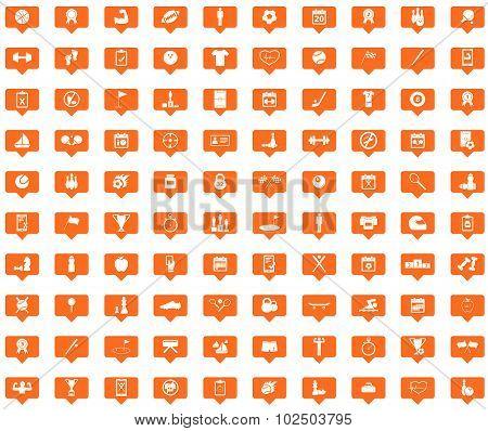 Sport orange message icons set