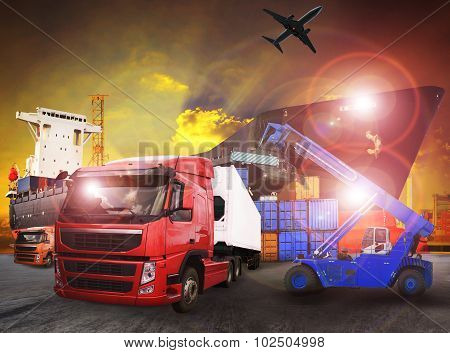Container Truck In Shipping Port Use For Transport,logistic And Cargo Freight Import - Export Indust