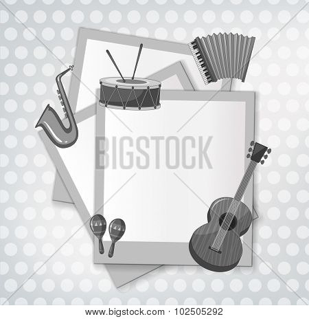 Notecard with music instrument in black and white illustration