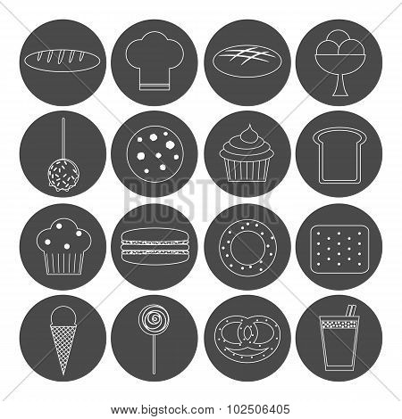 Bakery Outline Icons.