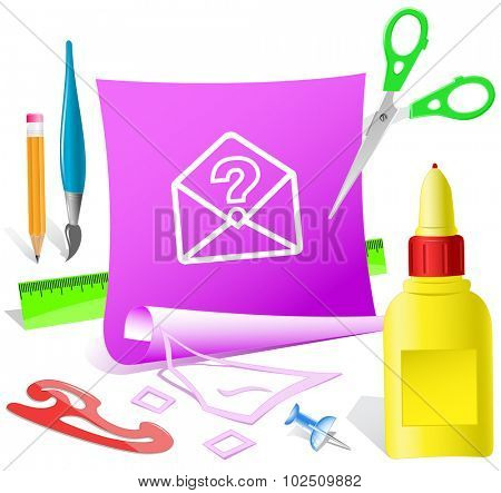 open mail with query sign. Paper template. Vector illustration.
