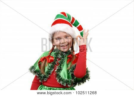 Girl - Santa's elf showing sign OK
