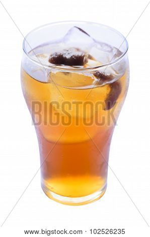 Longan juice with ice in glass on white background.