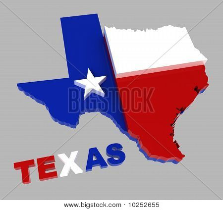 Texas, Map with Flag, Isolated on Gray, with Clipping Path