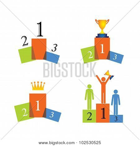 Concept Vector Icons Of Winner, Podium, Success