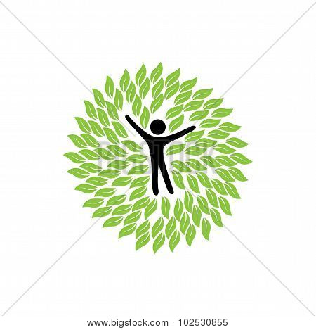 Vector Logo Icon Of Person And Leaves In Circles