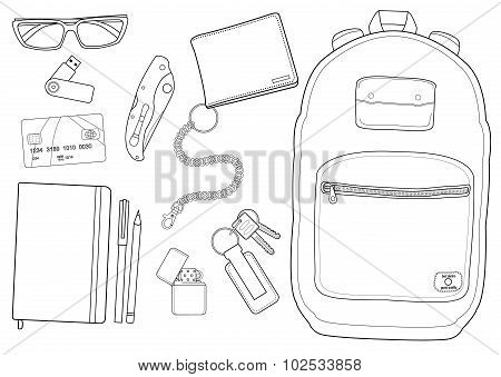 poster of EDC set. Every day carry man items collection. Vector isolated items. Contour