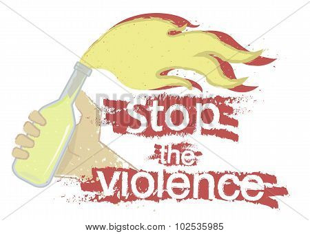 Stop the violence grunge illustration. Isolated