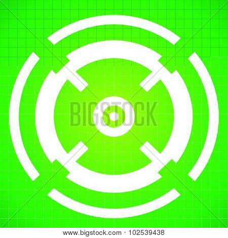 Targetmark, Crosshair, Reticle On Green Gridded Background.