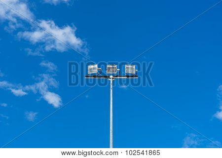 Multiple Sport Light With Blue Background.