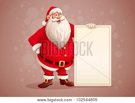 Merry Santa Claus standing with christmas greetings banner in arm, retro styled color. Vector illustration. Transparent objects used for lights and shadows drawing.