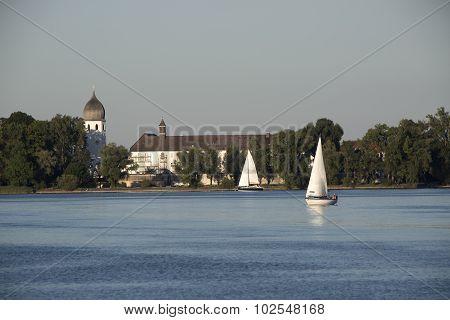 Isle Of Frauenchiemsee With Sailboats, Bavaria