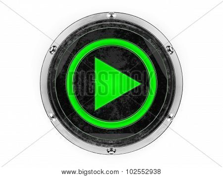 Glass and metal circle play symbol graphic element isolated on a white background.