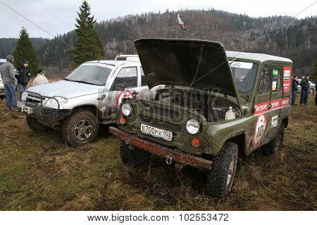MINYAR, RUSSIA - OCTOBER 31: Off-road vehicle UAZ (No.10) takes part at the annual trophy challenge
