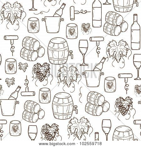 Vector seamless background with cartoon hand drawn wine objects in round shape: bottle, glass, barre