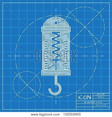 Vector blueprint physics dynamometer for laboratory work on engineer or architect background. poster