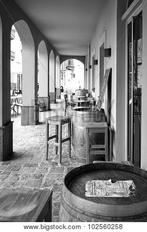 Old wine shop. Black and white photo