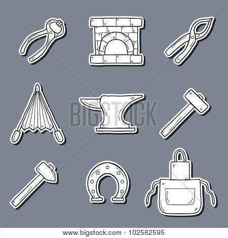 Set of cartoon stickers in hand drawn style on blacksmith theme: horseshoe, sledgehammer, vise, oven