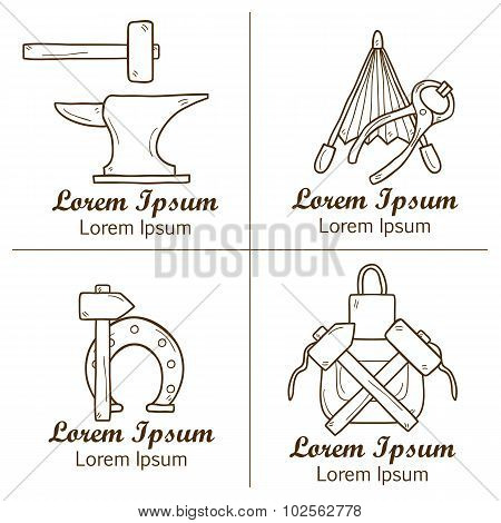 Set of cartoon badges in hand drawn style on blacksmith theme: horseshoe, sledgehammer, vise, oven