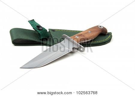 hunting knife with wooden handle and scabbard, isolated on white background
