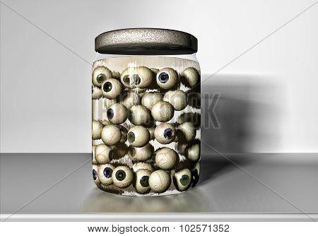 Jar full of eyeballs