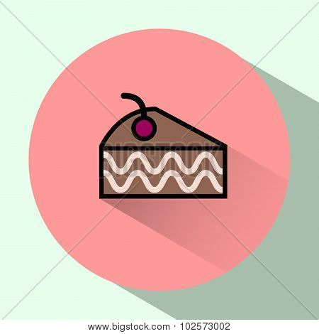 Cake Slice With Cherry On Top Colorful Icon.