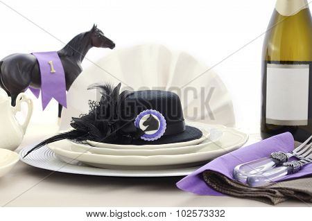 Horse Race Day Ladies Luncheon Table Setting.