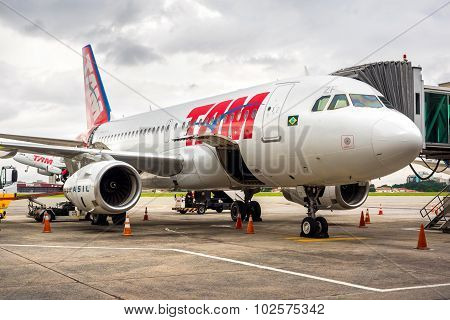 Tam Airlines Airplane At Guarulhos Airport In Sao Paulo, Brazil