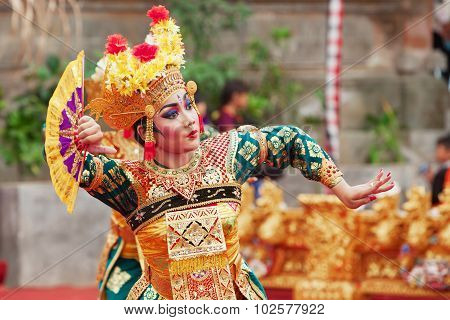 Balinese Woman Dancing Traditional Temple Dance Legong
