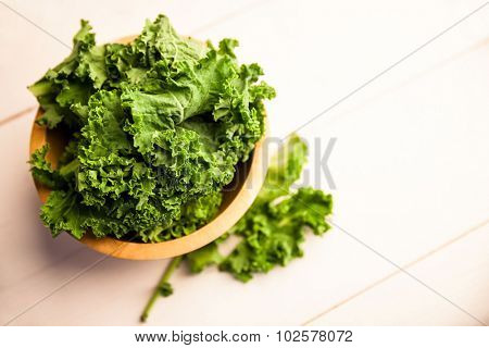Overhead view of fresh kale on the table
