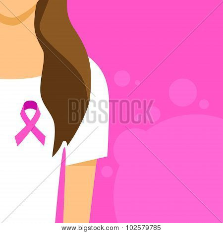 Woman Pink Ribbon Breast Cancer Awareness Female